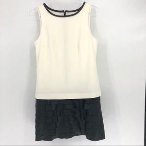 Ann Taylor Cream Black Ruffle Skirt Dress 8